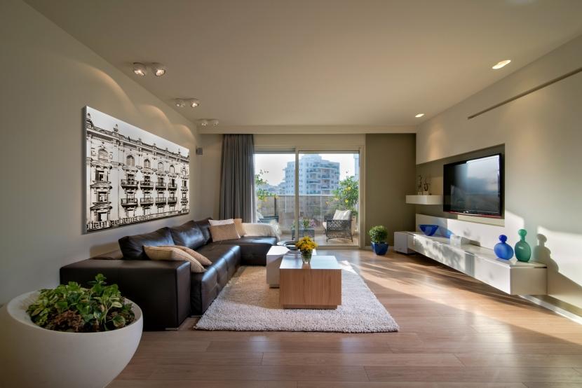 תכנון ועיצוב פנים לסלון בדירת קבלן בקריית שרון בנתניה | BLV
