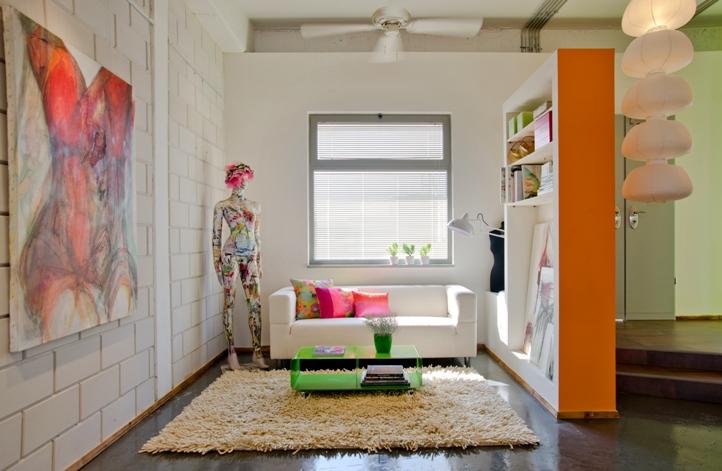 תכנון ועיצוב לסלון בסטודיו של אמנית | בית פנורמה תל אביב | BLV