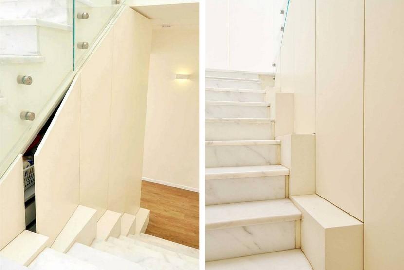 עיצוב פנים תכנון אחסון מתחת למדרגות BLV Design/Architecture